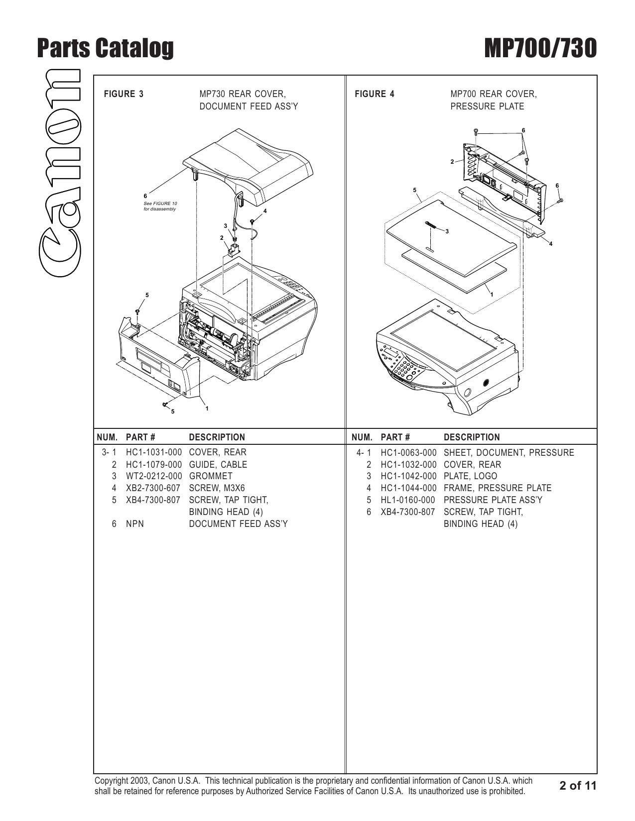 Canon PIXMA MP700 MP730 Parts Catalog Manual-3